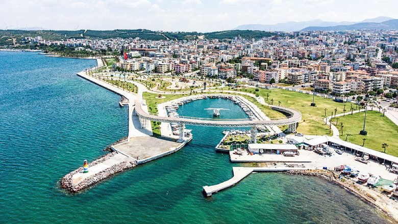 Aliaga Yatch Port and Public Park From Above, Izmir, Turkey