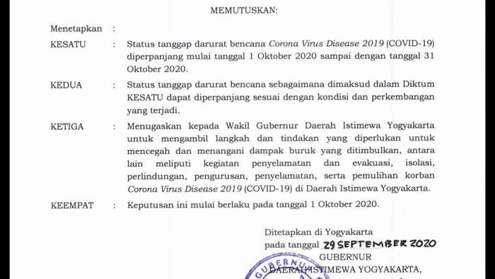 SK Gubernur DIY nomor: 286/KEP/2020 tentang penetapan perpanjangan kelima status tanggap darurat bencana COVID-19, Selasa (29/9/2020).