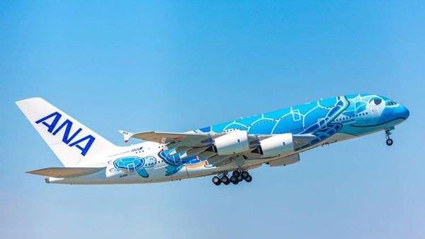 Menggunakan pesawat A380 atau yang dikenal dengan Flying Honu, traveler akan diajak terbang dengan nuansa Hawaii yang tercermin lewat stiker pesawat hingga aksesori dan makanan bertema Hawaii (dok All Nippon Airways)