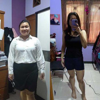 Devina Elfita Adiwidjaja yang berhasil menurunkan berat badan 22kg