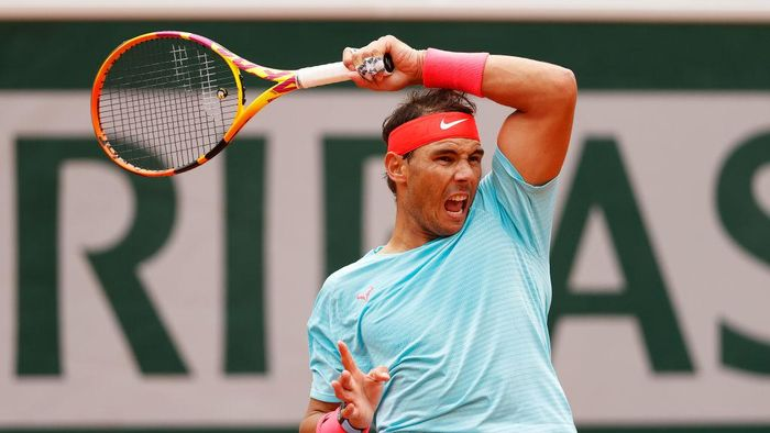 PARIS, FRANCE - SEPTEMBER 30: Rafael Nadal of Spain plays a forehand during his Mens Singles second round match against Mackenzie McDonald of the United States on day four of the 2020 French Open at Roland Garros on September 30, 2020 in Paris, France. (Photo by Clive Brunskill/Getty Images)