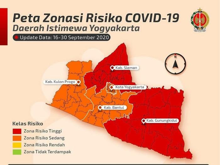 Peta Zona Risiko COVID-19 DIY pada 16-30 September 2020.