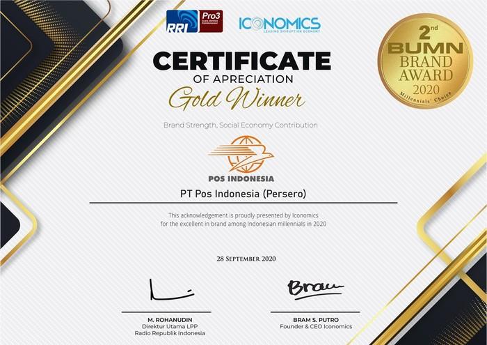 PT Pos Indonesia (Persero) meraih penghargaan Brand Strength, Social Economy Contribution di ajang BUMN Brand Award 2020 Millenials Choice.