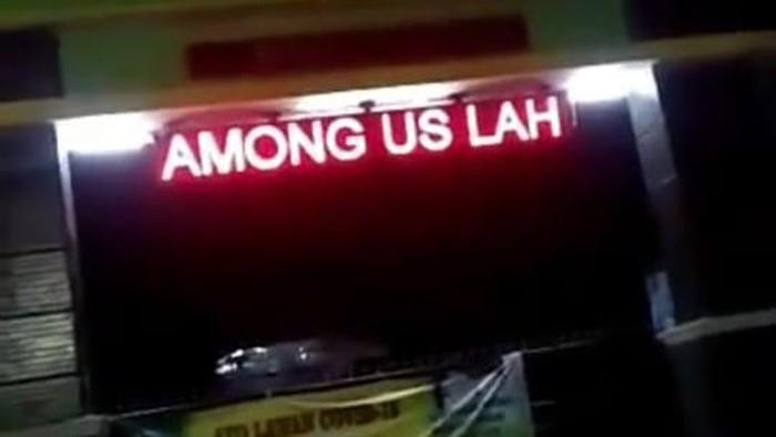 Running text among us lah di sekolah Bekasi (tangkapan layar)