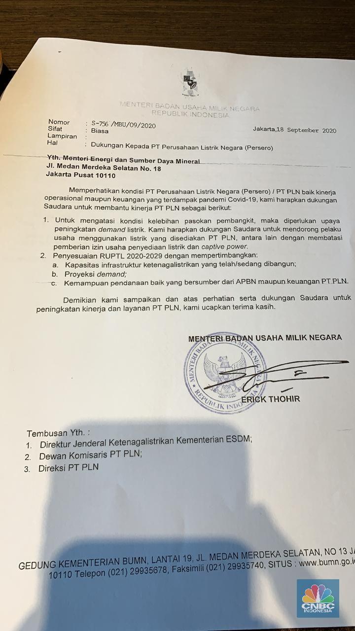 Surat Permohonan Dukungan untuk PLN ke Menteri ESDM
