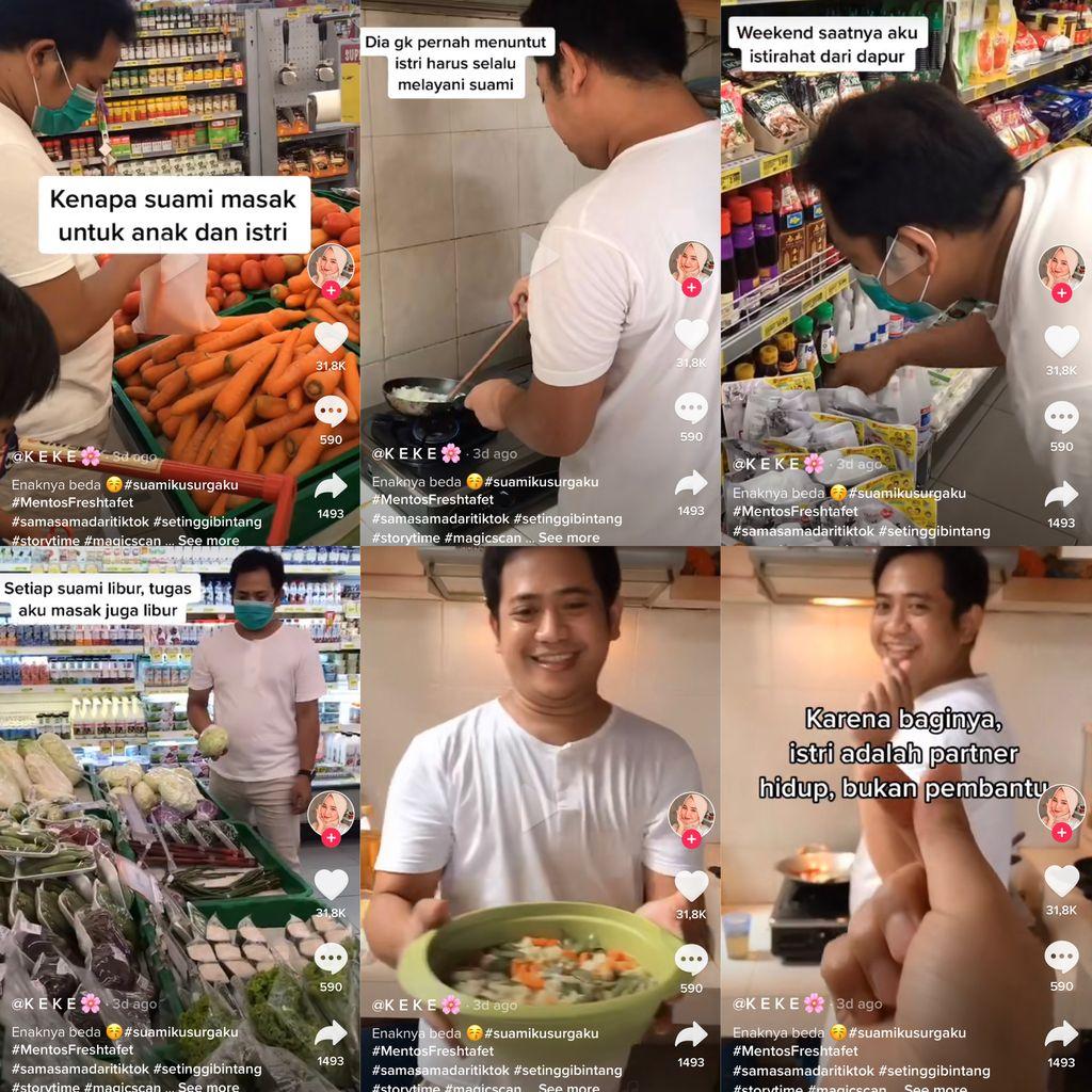 Kisah uwu suami yang bantu istri memasak