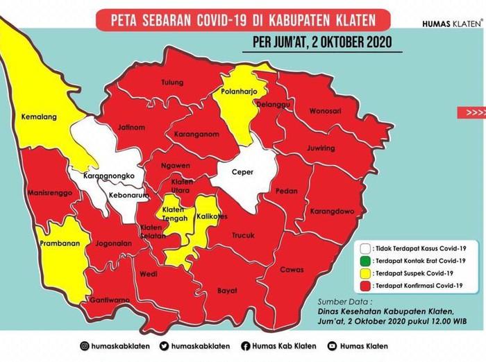 Peta persebaran kasus virus Corona atau COVID-19 di Klaten, Jumat (2/10/2020).