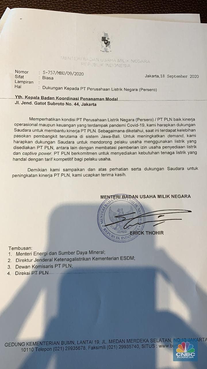Surat Permohonan Dukungan untuk PLN ke Kepala BKPM