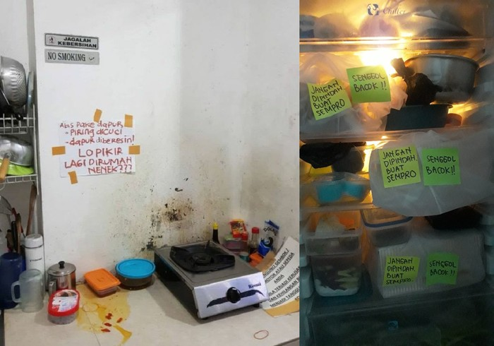 Dapur Indekos Putri yang Penuh Tulisan Ancaman Ini Bikin Ngakak