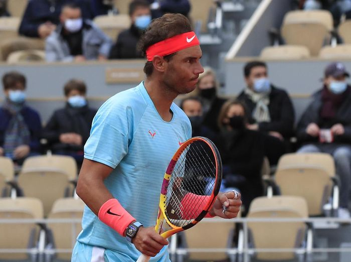 Spains Rafael Nadal clenches his fist after winning his fourth round match of the French Open tennis tournament against Sebastian Korda of the U.S. at the Roland Garros stadium in Paris, France, Sunday, Oct. 4, 2020. (AP Photo/Michel Euler)