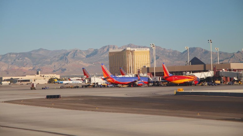 LAS VEGAS, NEVADA—APRIL 2017: View of the McCarran International Airport in Las Vegas Nevada, with the Mandalay Bay hotel and the Nevada mountains in the background.