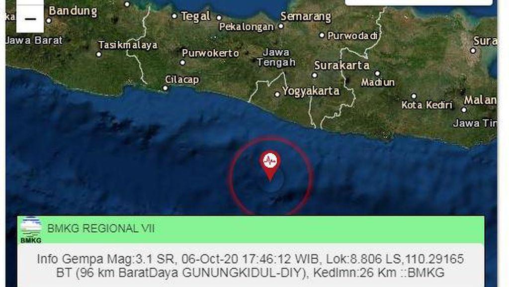 Gempa M 3,1 Terjadi di Gunungkidul DIY