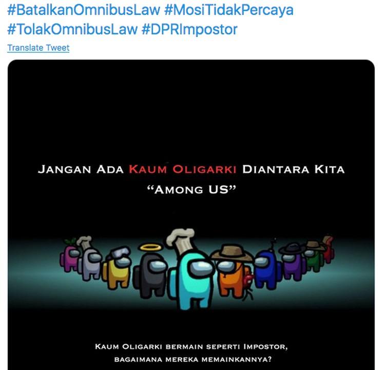 Meme Among Us untuk Protes Omnibus Law
