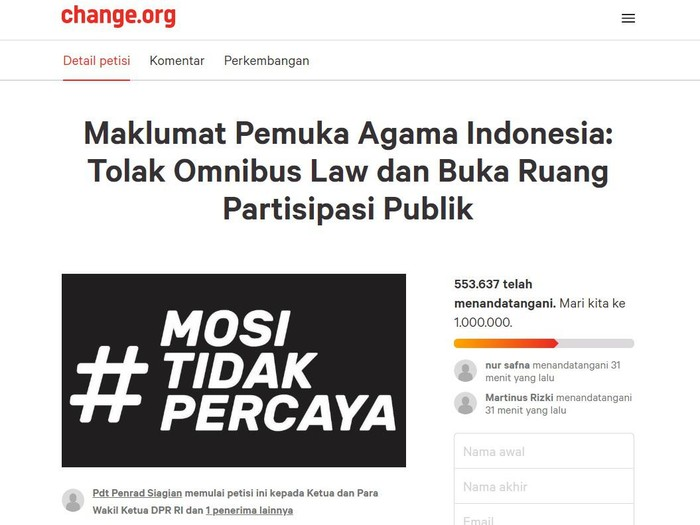 Muncul petisi online Maklumat Pemuka Agama Indonesia: Tolak Omnibus Law