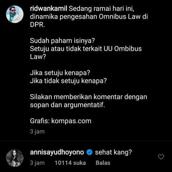 Ridwan Kamil Polling Omnibus Law