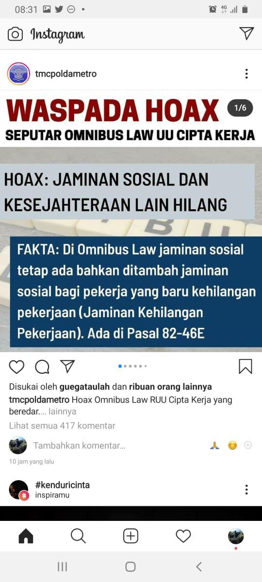 Akun TMC Ikut Posting soal Omnibus Law, Ini Penjelasan Polda Metro