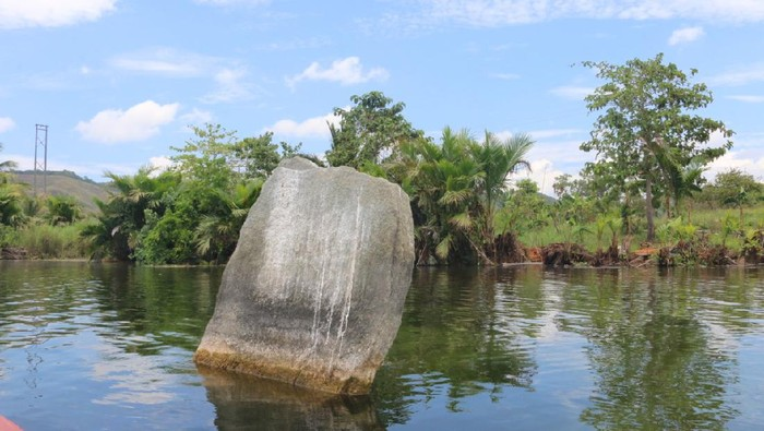 Benda-benda purbakala tampak jelas di Danau Sentani saat surut.