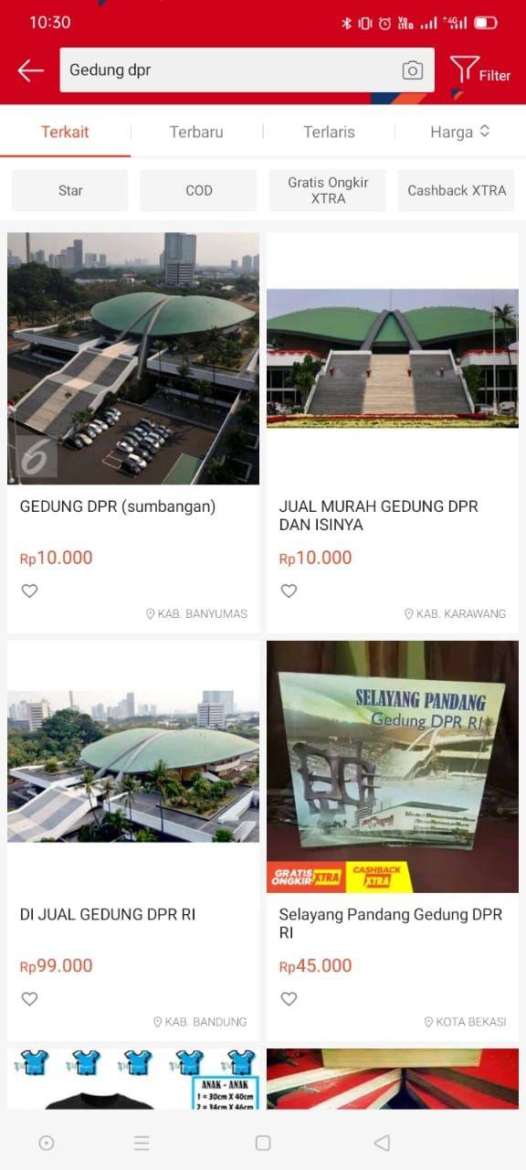 Gedung DPR Dijual online