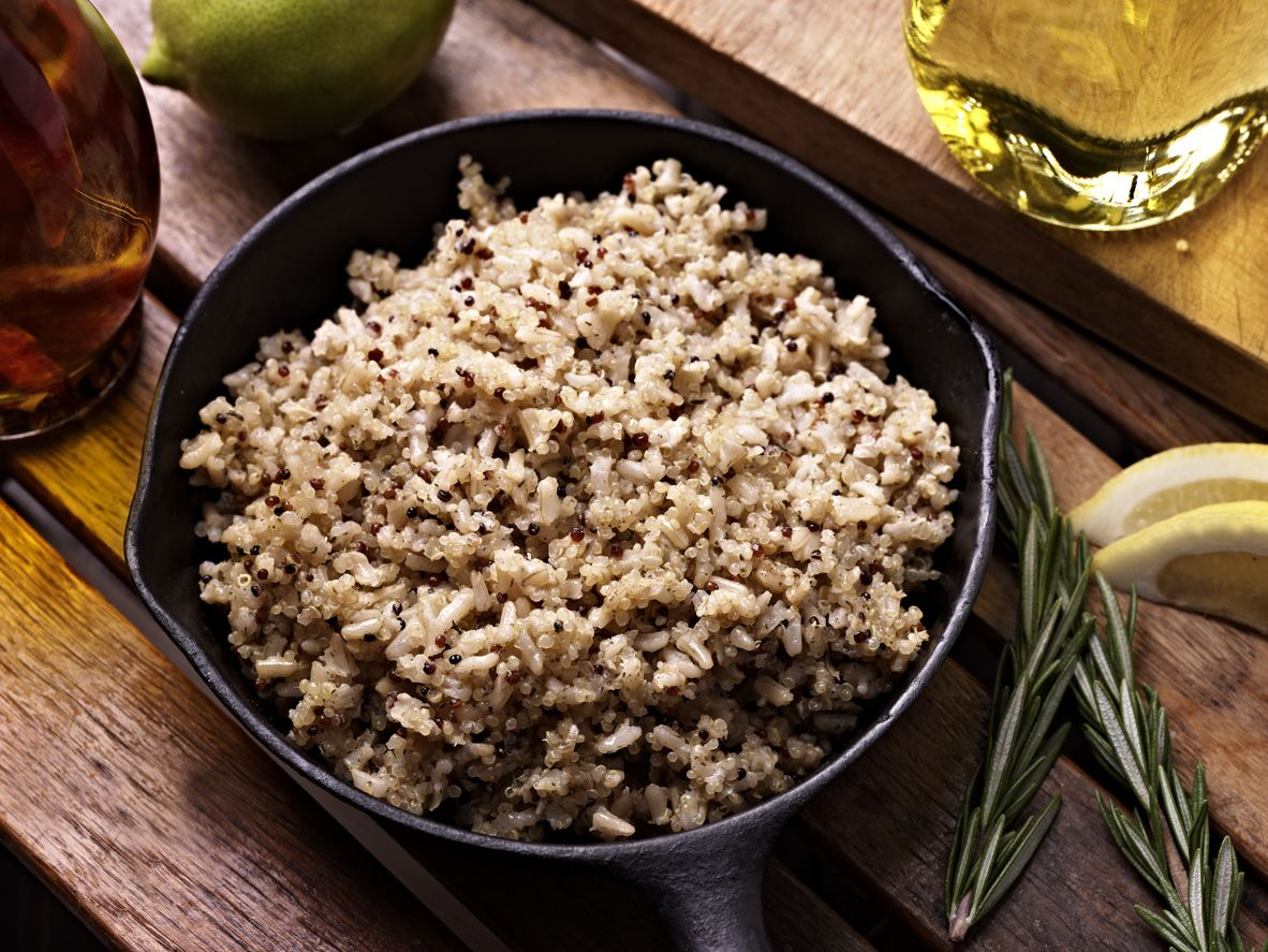 Quinoa with Brown Rice in a Cast Iron Pan.