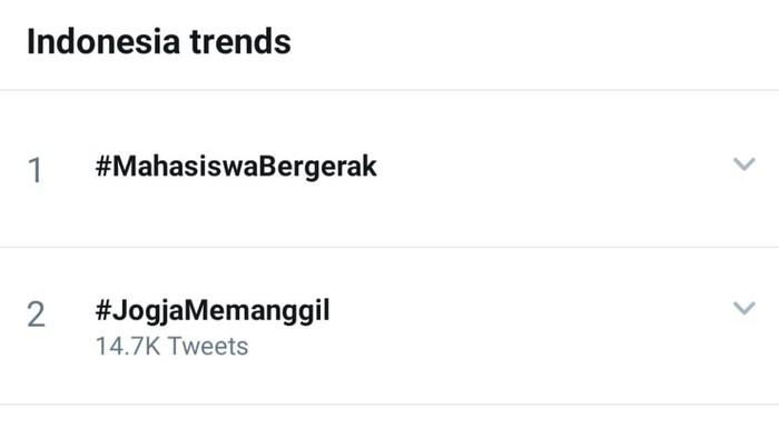 tangkapan layar trending topic Twitter #JogjaMemanggil, Rabu (7/10/2020).