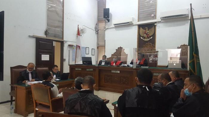 Eks prajurit TNI AU Harko Suryatama menjadi saksi di sidang Ruslan Buton, di PN Jaksel, Kamis (8/10/2020).