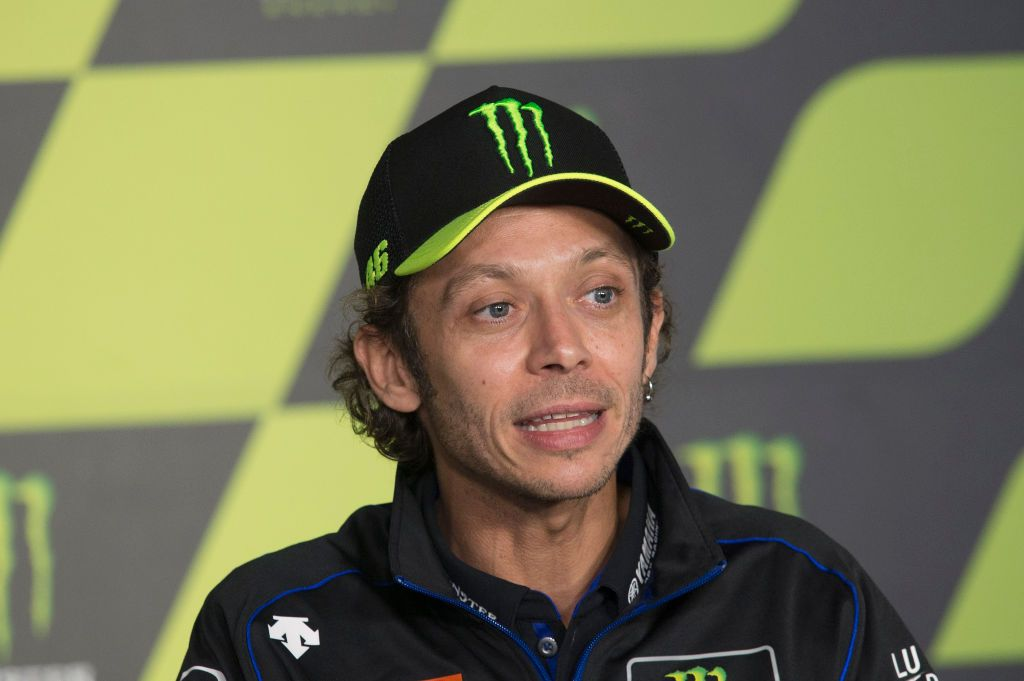 BARCELONA, SPAIN - SEPTEMBER 26: Valentino Rossi of Italy and Monster Energy Yamaha MotoGP Team speaks  during the