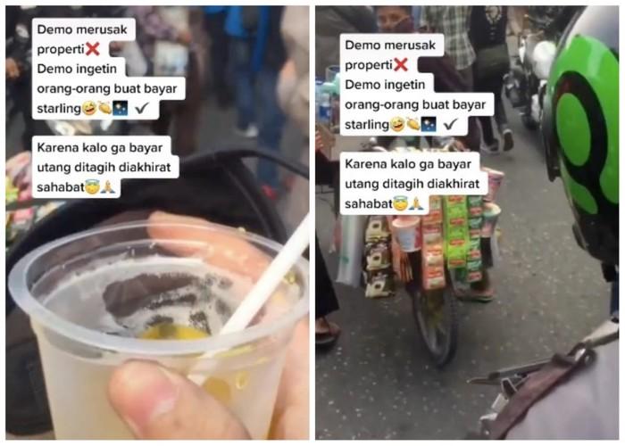 Ikut Demo Omnibus Law, Pria Ini Ingatkan Massa Bayar Minuman 'Starling'
