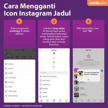 Infografis Cara Ganti Ikon Instagram Jadul