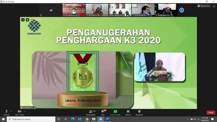 Kemenaker kembali menggelar Anugerah Penghargaan Keselamatan dan Kesehatan Kerja (K3) 2020. PLTA Saguling POMU meraih penghargaan ini.