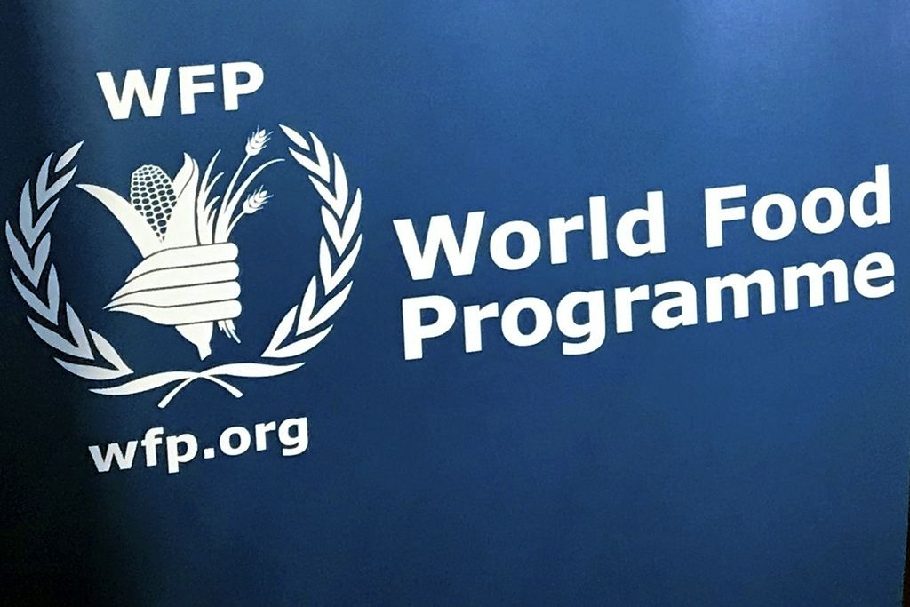 FILE - In this Nov. 6, 2017 file photo, the U.N. World Food Program's logo at the agency's headquarters in New York. The World Food Program has won the 2020 Nobel Peace Prize for its efforts to combat hunger and food insecurity around the globe. The announcement was made Friday Oct. 9, 2020 in Oslo by Berit Reiss-Andersen, the chair of the Nobel Committee. (AP Photo/Robert Bumstead, File)