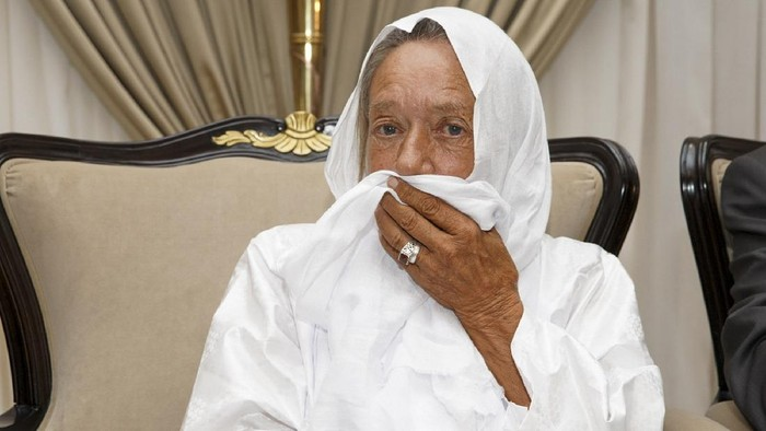 In this photo provided by the Mali Presidency, French ex-hostage Sophie Petronin is seen at the presidential palace after being released and flown to the capital Bamako, Mali, late Thursday, Oct. 8, 2020. A prominent Malian politician and three European hostages freed by Islamic extremists in northern Mali this week landed in the countrys capital late Thursday where they held emotional reunions with family members and were greeted by government officials. (Mali Presidency via AP)