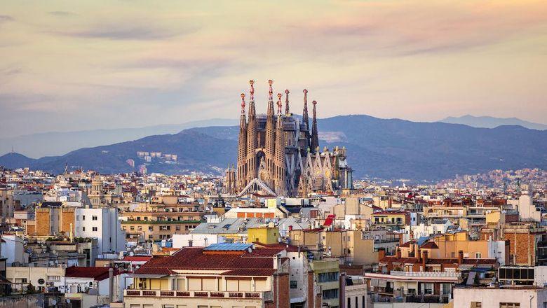 View dari udara Barcelona
