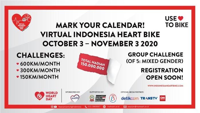 Yayasan Jantung Indonesia (YJI) mengajak masyarakat Indonesia untuk berolahraga melalui ajang 'Virtual Indonesia Heart Bike'