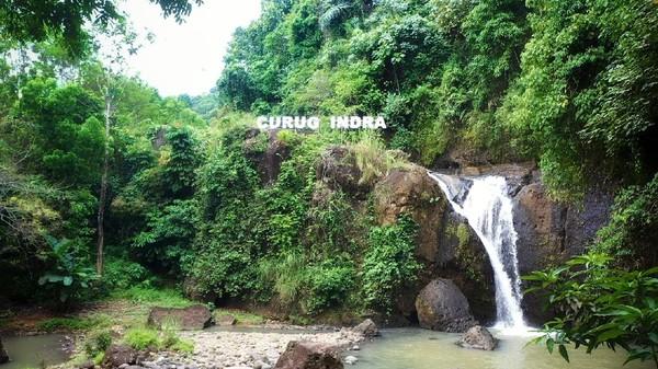 Ada sebuah curug cantik yang letaknya cukup tersembunyi di antara perkampungan warga di Kampung Cidadap Desa Sukamaju, Kecamatan Cikakak, Kabupaten Sukabumi. Namanya Curug Indra. Ada kisah mengapa curug ini diberi nama Curug Indra. (Syahdan Alamsyah/detikcom)