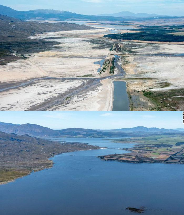 Kota utama di Afrika Selatan, Cape Town, mengalami krisis air berkepanjangan dalam beberapa tahun terakhir. Tapi, kini bendungan kembali dipenuhi air.