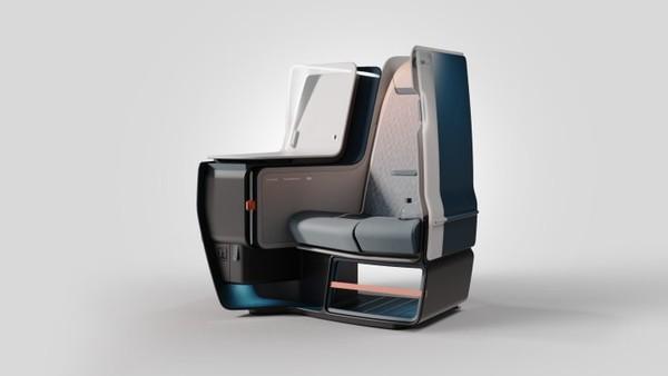 Ini adalah desain kursi bagi kelas bisnis dalam pesawat. Struktur dan bahannya diadopsi dari mobil Formula 1.