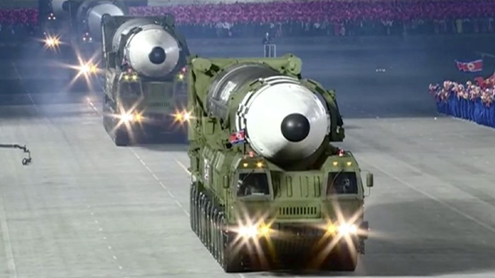 "This image made from video broadcasted by North Koreas KRT, shows a military parade with what appears to be a possible new solid-fuel missile at the Kim Il Sung Square in Pyongyang, Saturday, Oct. 10, 2020. North Korean leader Kim Jong Un warned Saturday that his country would ""fully mobilize"" its nuclear force if threatened as he took center stage at a massive military parade to mark the 75th anniversary of the country's ruling party. (KRT via AP)"
