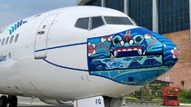Pesawat Garuda Pakai Masker, Kali Ini Bermotif Barong Bali
