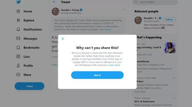 Cuitan Presiden AS Donald Trump kembali dinilai Twitter kontroversial. Trump yang menyebut dirinya kebal, langsung ditandai sebagai cuitan menyesatkan.
