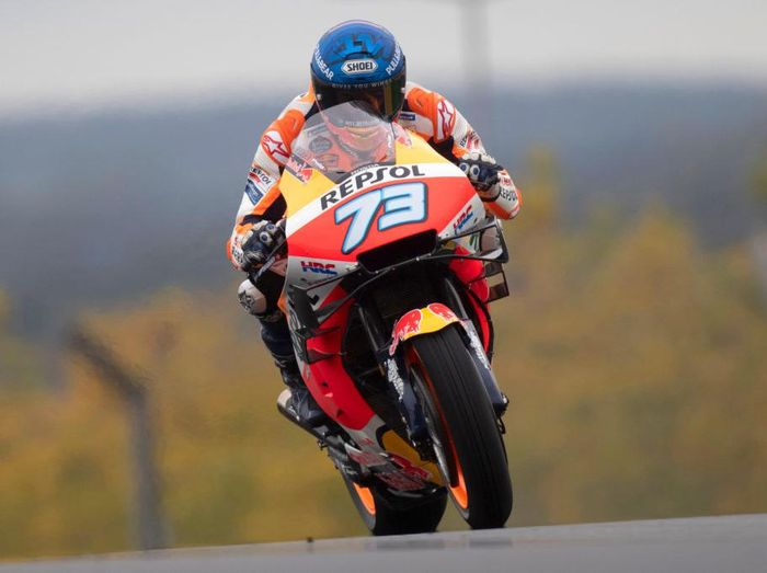 LE MANS, FRANCE - OCTOBER 09: Alex Marquez of Spain and Repsol Honda Honda  heads down a straight during the MotoGP of France: Free Practice at Bugatti Circuit  on October 09, 2020 in Le Mans, France. (Photo by Mirco Lazzari gp/Getty Images)