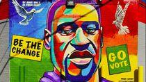 Mural George Floyd Dilukis di Kampung Halaman Jelang Pilpres AS