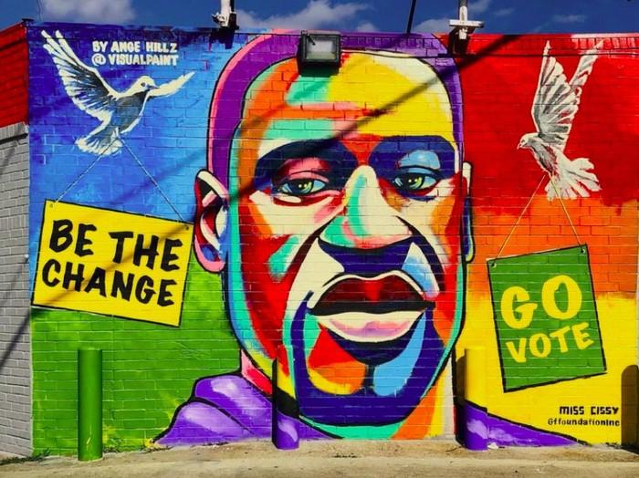 Mural George Floyd Jelang Pilpres AS