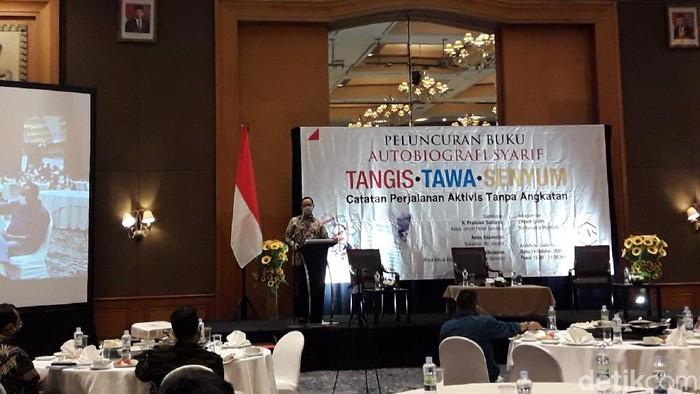 Acara peluncuran buku autobiografi anggota DPRD DKI Jakarta Fraksi Gerindra, Syarif (M Ilman/detikcom)