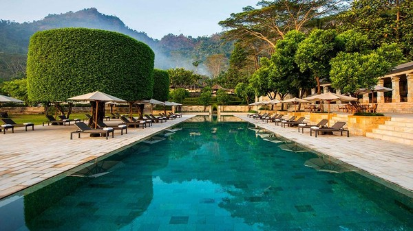 Setiap resor pada Amanjiwo hotel dilengkapi oleh kolam renang pribadi. Hal ini tentunya memberikan Anda privasi sendiri untuk menikmati liburan di tengah hamparan sawah dengan udara yang sejuk (dok Amanjiwo)