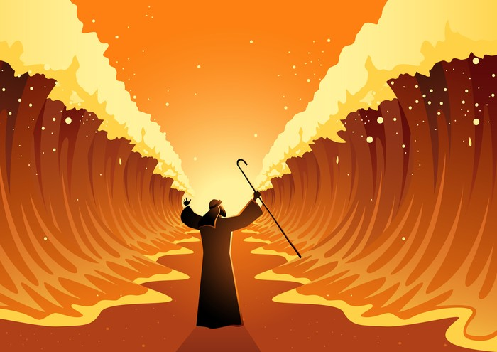 Biblical and religion vector illustration series, Moses held out his staff and the Red Sea was parted by God