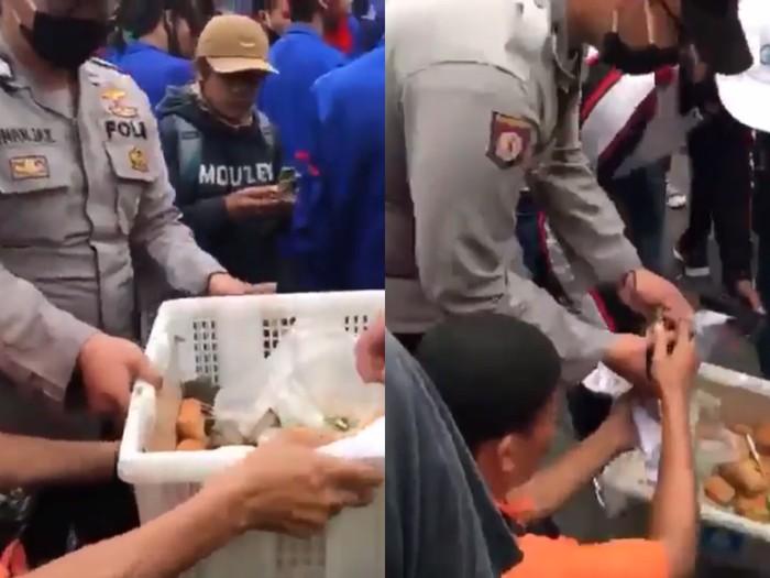 Bikin Adem! Polisi Borong Gorengan untuk Dibagikan ke Demonstran Omnibus Law