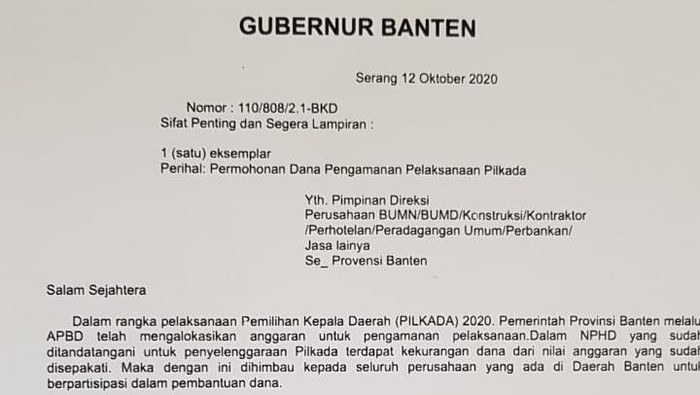 Surat Palsu Gubernur Banten