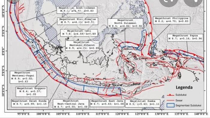 Penampakan potensi gempa bumi megathrust selatan dalam buku pusat study gempa nasional (PUSGEN) 2017.