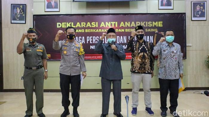Deklarasi Anti-Anarkisme Jombang Berkarakter dan Berdaya Saing digelar di ruang JCC Polres Jombang