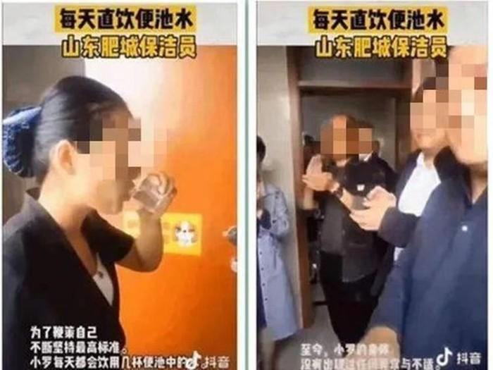 wanita minum air toilet